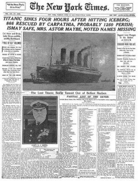 titanic sinks new york times